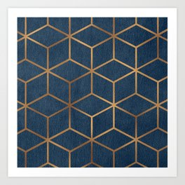 Dark Blue and Gold - Geometric Textured Cube Design Art Print