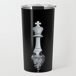 Farewell to the Pale King / 3D render of chess king breaking apart Travel Mug