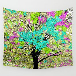 TREES PINK AND GREEN ABSTRACT Wall Tapestry