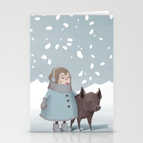 Pig in snow Stationery Cards