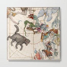 Vintage Star Atlas - Constellation Map Metal Print