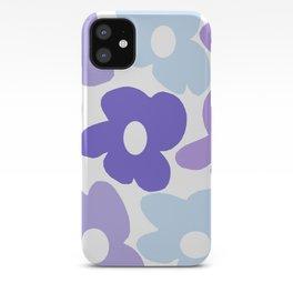 Large Purple Retro Flowers White Background #decor #society6 #buyart iPhone Case