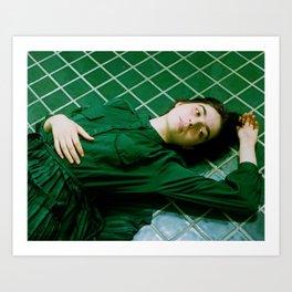 tara in green bathroom Art Print