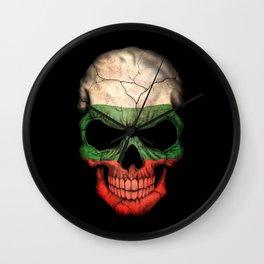 Dark Skull with Flag of Bulgaria Wall Clock
