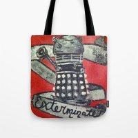 dalek Tote Bags featuring Dalek by AntiPosi