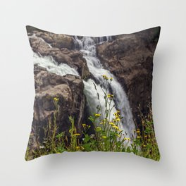 Wildflowers at the Falls Throw Pillow
