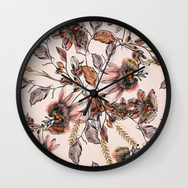 Tropical drawings of pasiflora flowers Wall Clock