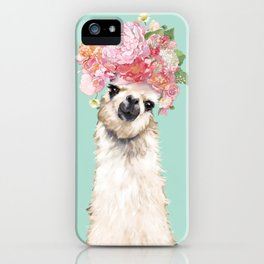 Llama with Flowers Crown #3 iPhone Case