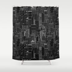 City Doodle (night) Shower Curtain