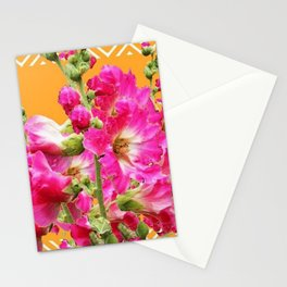 Fuchsia Pink Holly Hocks Pattern Orange Color Floral Art Stationery Cards