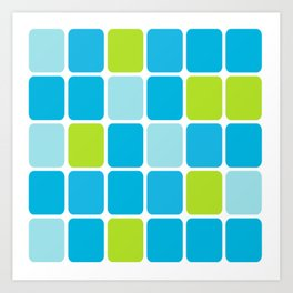 blue and green squares  Art Print