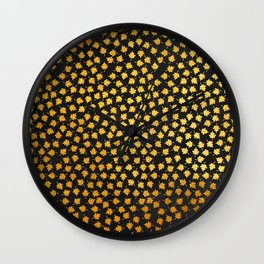 AUTUMN - small gold leaves on chalkboard background Wall Clock