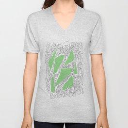 Collage green doodle Unisex V-Neck