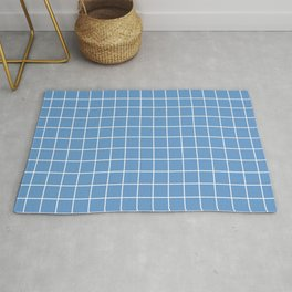 Livid - blue color - White Lines Grid Pattern Rug
