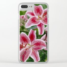 Pink Lily oil painting Clear iPhone Case