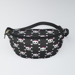 Girl pirate skull and bones with pink ribbon hair bow Fanny Pack