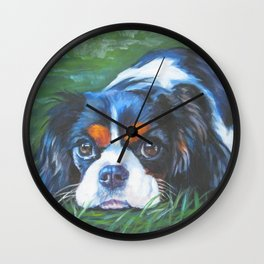 Beautiful Tricolour Cavalier King Charles Spaniel Dog Painting by L.A.Shepard Wall Clock