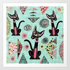 Geometric Cubist Hep Cats Art Print