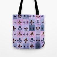 fleur de lis Tote Bags featuring Fleur de lis #5 by Camille