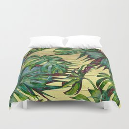 Tropical Palm Leaves on Wood Duvet Cover