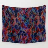 ikat Wall Tapestries featuring Ikat #3A by Schatzi Brown
