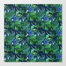 Palm Leaf Blue Green Canvas Print