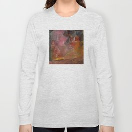 Flaming Sunrise Over the Mountaintop: Abstract Painting Long Sleeve T-shirt