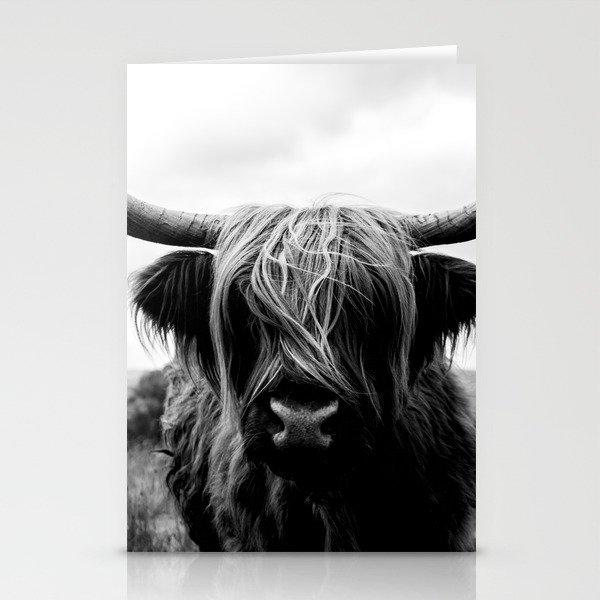 Scottish Highland Cattle Black and White Animal Stationery Cards