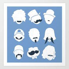 Famous Moustaches blue Art Print