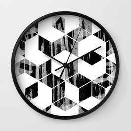 Elegant Black and White Geometric Design Wall Clock