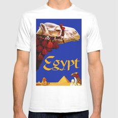 Vintage Egypt Camel Travel White MEDIUM Mens Fitted Tee