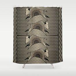 Buffalo Running (Gray) Shower Curtain