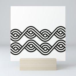 Geometric pattern deco black white Mini Art Print