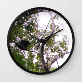 MONKEY IN THE MIST.  WILD IN A TREE Wall Clock