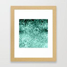 Teal Mint Green Pixels Framed Art Print