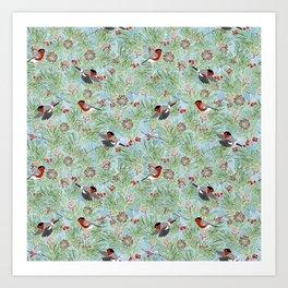 bullfinches and winter plants Art Print