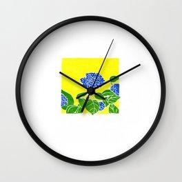 Blue Flowers: Star Shape Blue  Flowers on a Fine  Day, Woodblock Prints Wall Clock