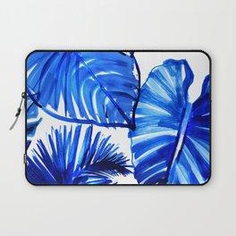 Bright Blue Jungle Leaves Laptop Sleeve