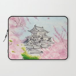 Himeji Castle , Art Watercolor Painting print by Suisai Genki , cherry blossom , Japanese Castle Laptop Sleeve
