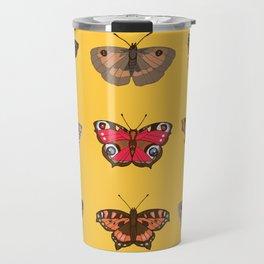 Butterflies Mounted on Yellow Travel Mug