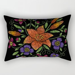 Embroidered Flowers on Black Circle 10 Rectangular Pillow