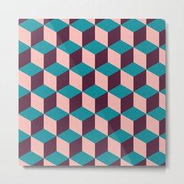 Mod cube purple blue and pink pattern Metal Print