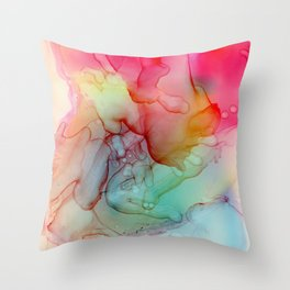 Abstract flower, Alcohol ink Throw Pillow