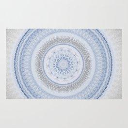 Elegant Blue Silver China Inspired Mandala Rug