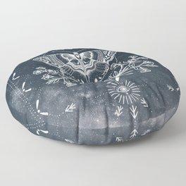 Magical Moth White Floor Pillow