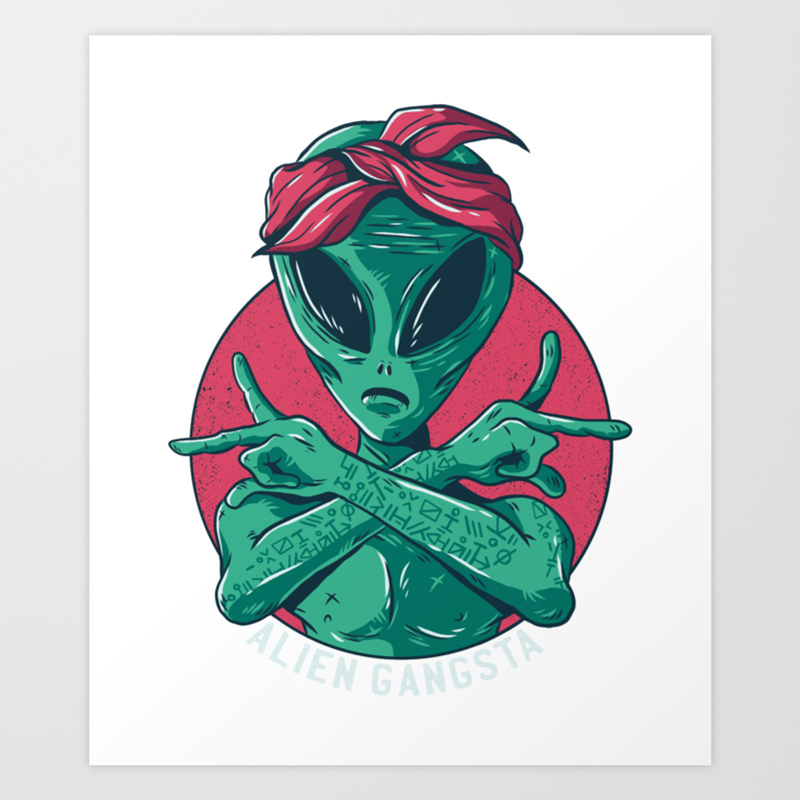 Cartoon Alien Gangster Design Art Print By Pmartistic Society6