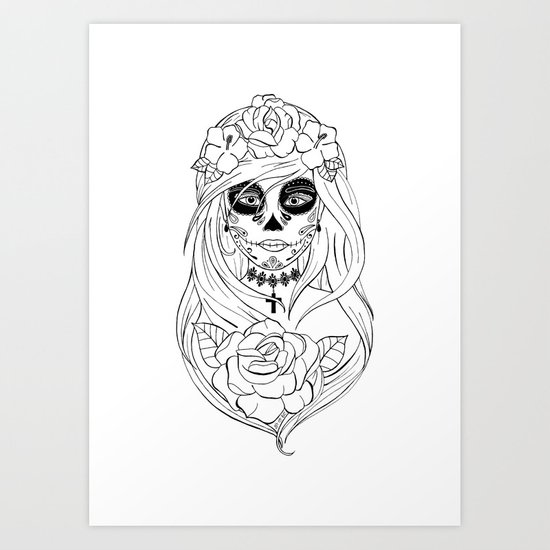 Santa Muerte NB Art Print