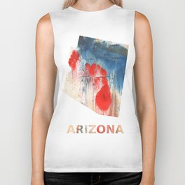 Arizona map outline Red Blue nebulous watercolor Biker Tank