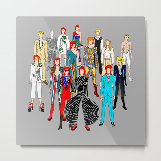 Gray Bowie Group Fashion Outfits Metal Print