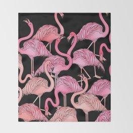 Flamingos Pattern Black Throw Blanket